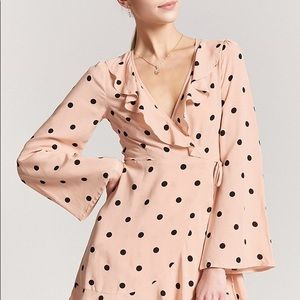Forever 21 pink wrap dress with black dots.